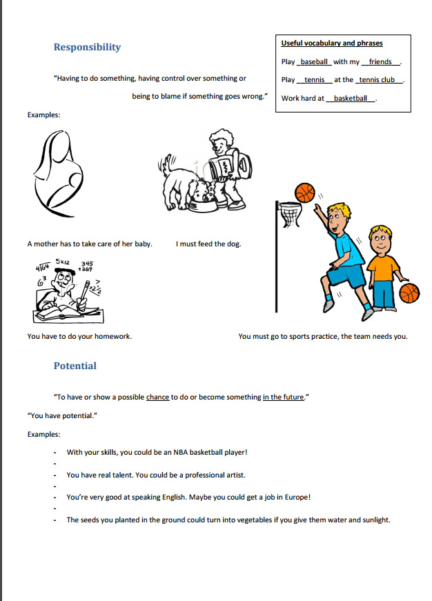 A simple worksheet for a position teaching high school kids the meanings of some specific words. Make sure there are absolutely no English mistakes like typos, spelling or grammar.
