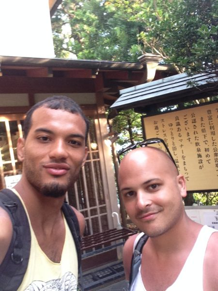 Marco and I after a hike up a mountain hill to a little onsen on the coast in Odawara
