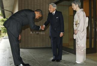 "Emperor Akihito, Empress Michiko and President Obama. This was the bow that went around the world as Western media harshly criticized Obama for bowing ""too low"" (even though it is totally normal in Japan...)"