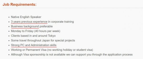 Job Requirements Japan